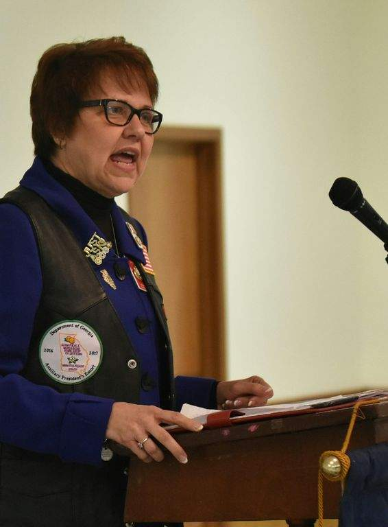 Sharon Conatser, past national president of the American Legion Auxiliary, speaks at Du Quoin American Legion Post 647 Thursday, part of a statewide tour.