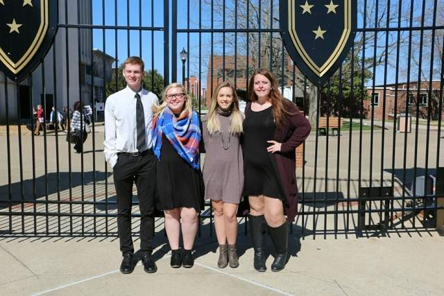 Four Pinckneyville Band Students attended the 70th-annual Quad State Music Festival Feb. 23 to 25 at Murray State University. On Thursday, the students auditioned for professors, who then seated them into a band based on their auditions. They spent Thursday night, all day Friday and Saturday morning preparing music for their concert, which took place Saturday at 11 a.m. While there, students had the opportunity to participate in masterclasses given by the Murray State  University faculty and see multiple college band performances including the Murray State Wind Ensemble and Jazz Orchestra.  Pictured from left to right are Stephen Wagner, Lindsay Feltmeyer, Madison Garavaglia and Gabby Bartnicki.
