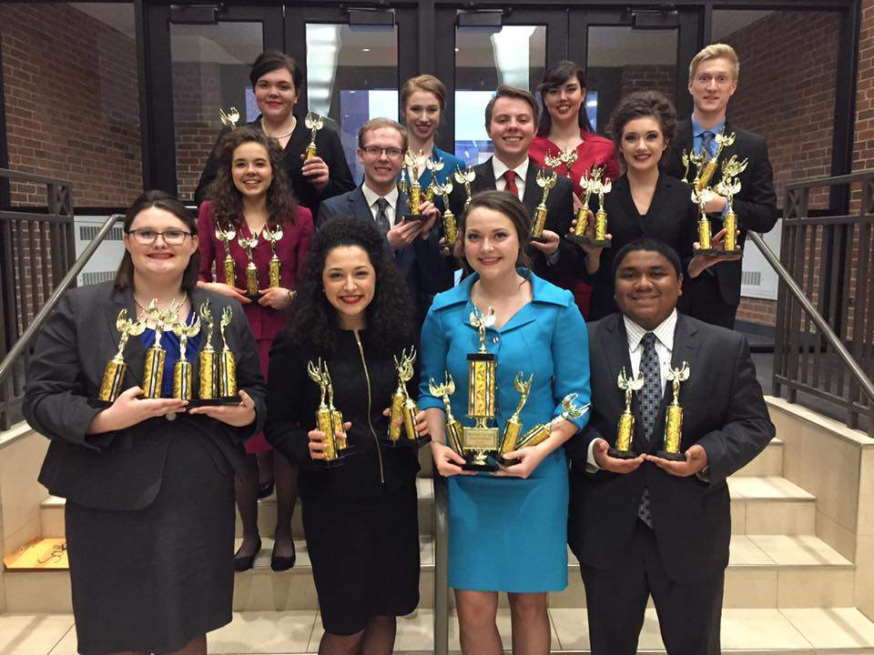 The state champion SIC Forensic Falcons took home a number of trophies from NIU.  Pictured are (back row, l-r): Joli Murphy, Kaydee Dycus, Shay Wood, Gabe Motsinger; (middle row, l-r): Shannon Welker, Noah Taylor, Chanse Tullis, Carrice McDaniel; (front row, l-r): Rachael Hooven, Cassidy Maynard, Haley Rushing, Nick Cofield.