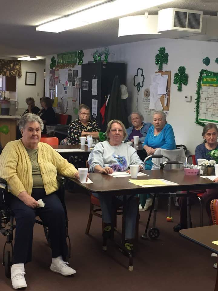 Seniors in Du Quoin enjoyed a fun and uplifting morning Friday at the Gold Plate Program. Fairview Healthcare and Rehabilitation Center sponsored Terri and David Isom, who performed gospel music.  Pictured are Fairview residents and clients of the Gold Plate enjoying the day.