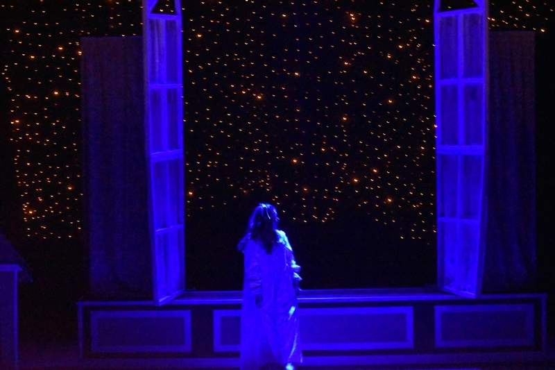 Wendy (Chloe Thomas) looks out at the night sky after returning home.