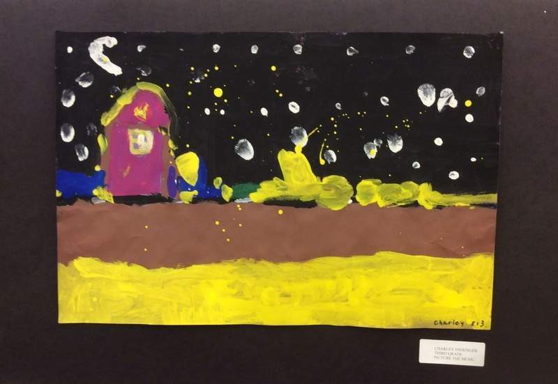 Charley Dieringer's night landscape is one of the pieces on display at the Benton Public Library.