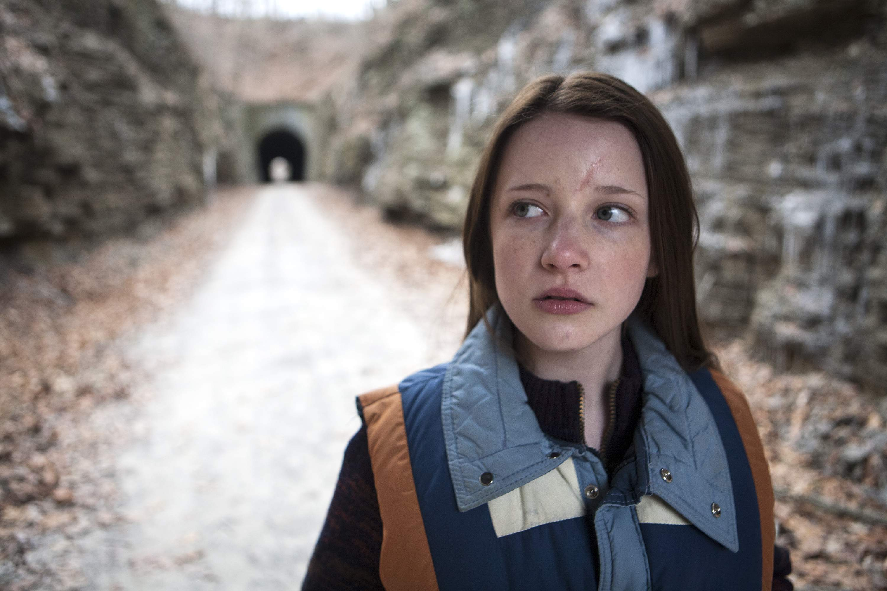 Actress Samantha Isler (playing Jake Mather), in a scene shot on the Tunnel Hill State Trail in Johnson County.