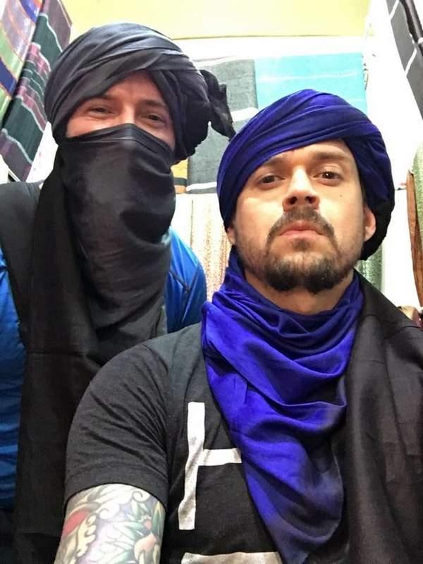 Joseph Kosma and his best friend, Kenny Elder, ham it up in Morocco.