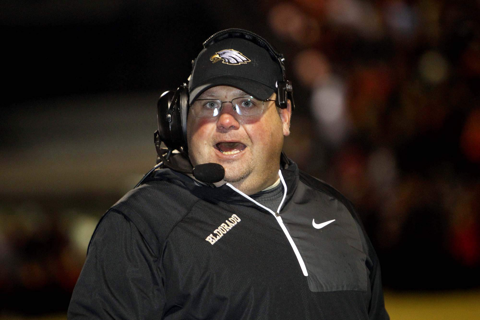 Brandon Hampton announced his resignation as head football coach at Eldorado High School Tuesday. The 1996 EHS alum will take an assistant position at Paris High School in Paris, Texas.