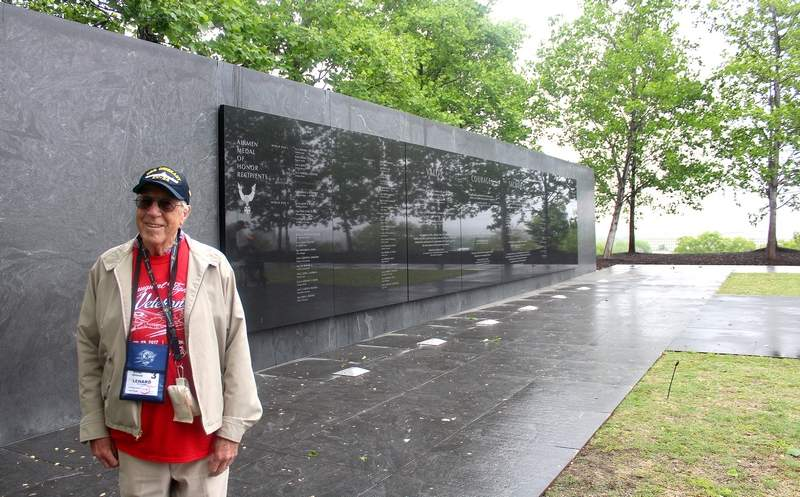 Leonard Hanger of Chester, took in the Air Force monument in Washington D.C. on Tuesday, one of the many stops made on the inaugural trip made by the Veterans Honor Flight of Southern Illinois. Hanger readily encouraged other veterans to make the trip. 'Without a doubt, this is amazing,' Hanger said.