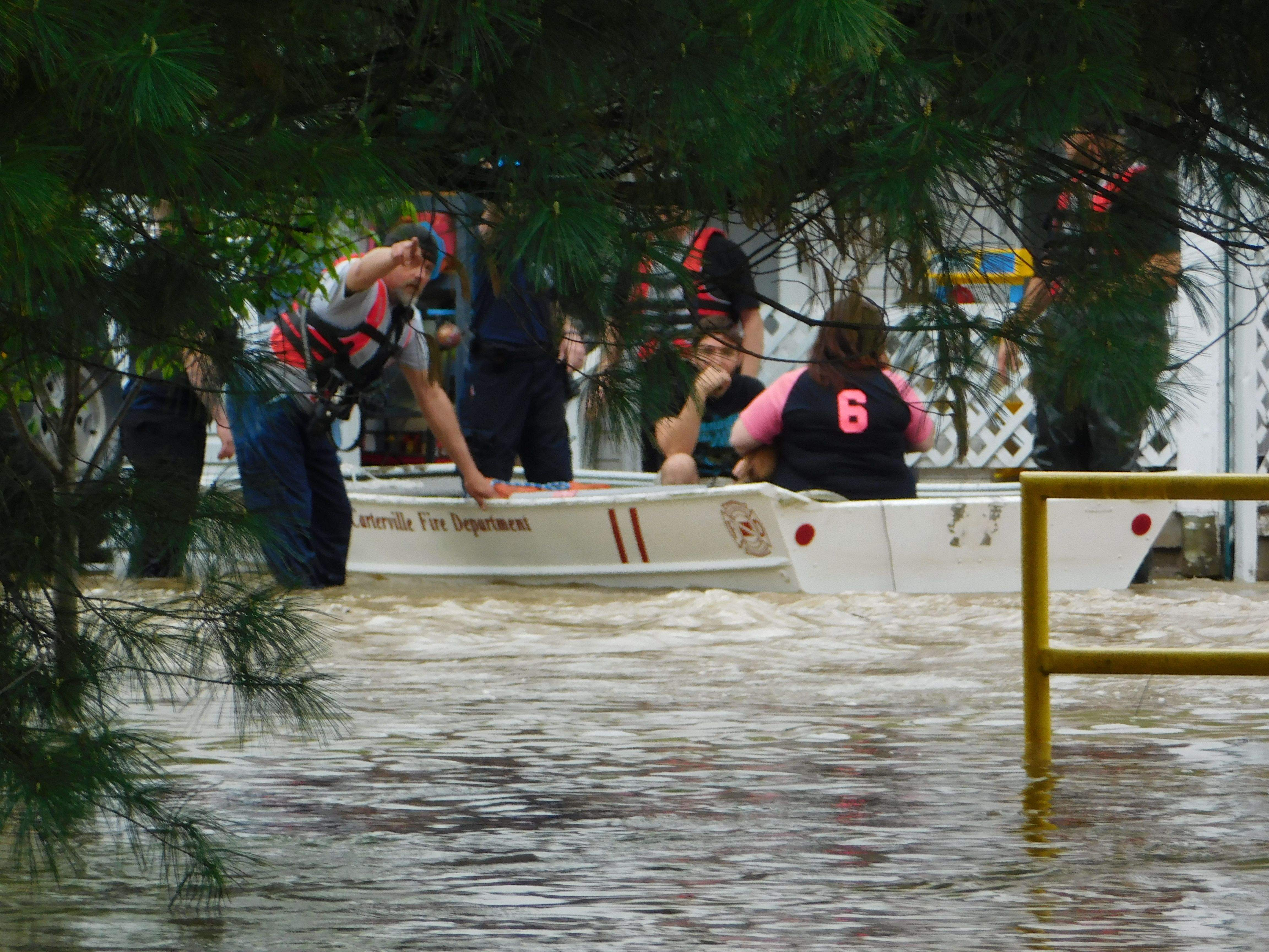 Carterville Fire Chief Ron Rains had no hesitation in answering a call for help from Johnston City on Saturday.  Rains brought the city's rescue boat and some extra hands to help Johnston City's first responders in evacuating several residents who were trapped in their homes by rapidly rising floodwaters.