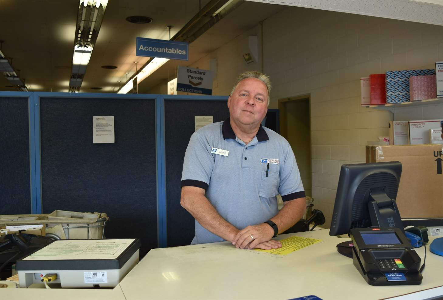 Lennie Kaylor, a postal worker at the Harrisburg Post Office, spent his last day working Friday before his retirement. Kaylor spent the last 27 years as a postal employee.