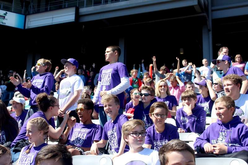 Harrisburg Junior High School students cheer on the Southern Illinois Miners at an exhibition game on Tuesday against the Gateway Grizzlies. Almost 50 schools from Southern Illinois, Kentucky, and Missouri were in attendance.