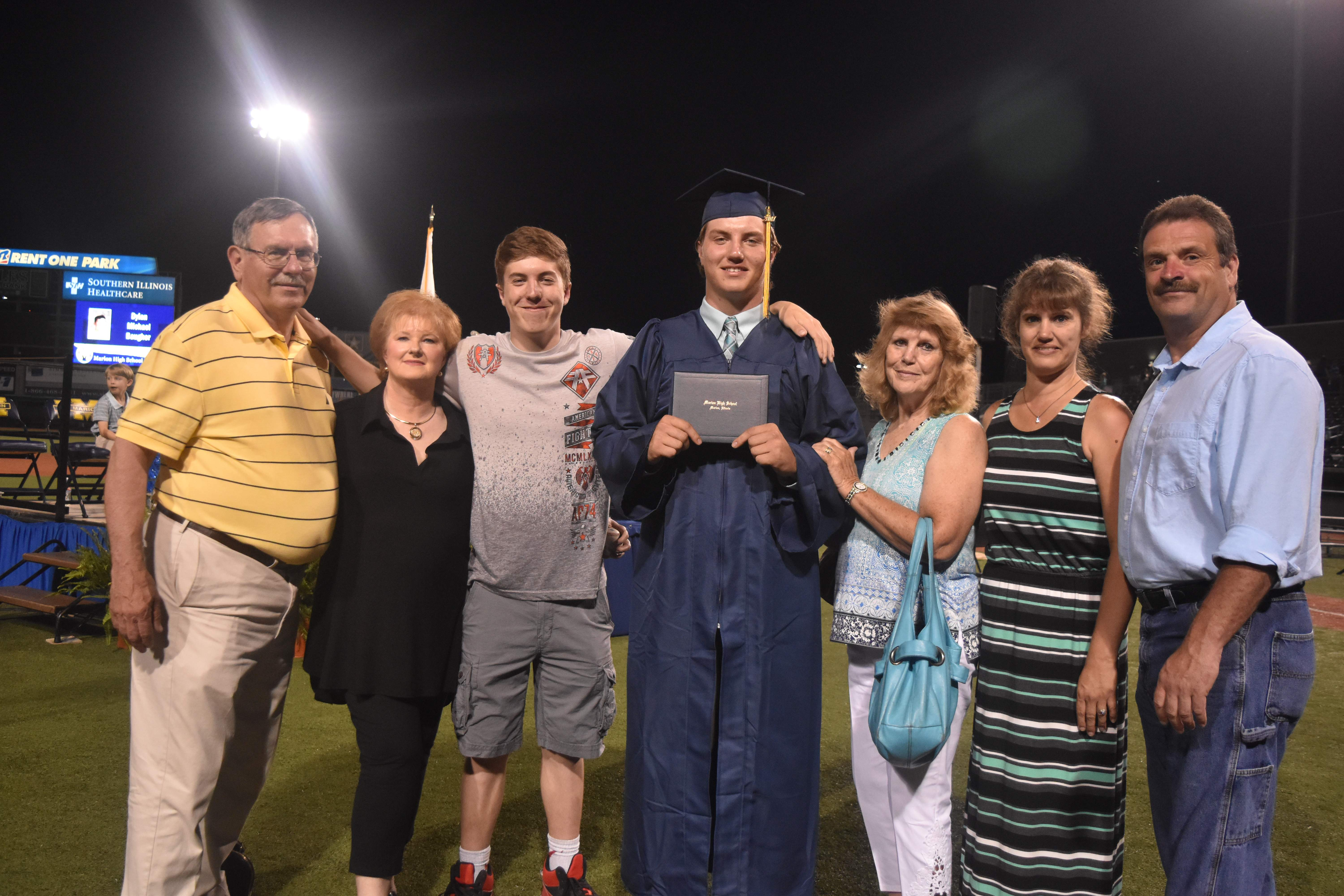 The Blaise family gathers after MHS graduation. Pictured from left: David Blaise, Cathy Blaise, Nick Blaise, Alex Blaise, Susan Smith, Angela Powell and Bo Powell.