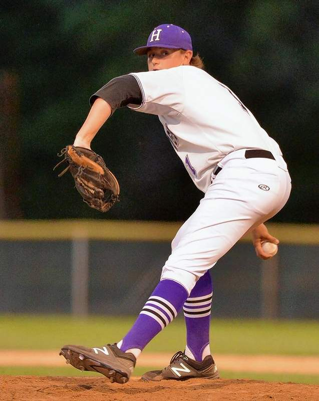 HHS junior pitcher/infielder Carson Burtis is shown delivering a pitch against the Carterville Lions Wednesday night in sectional tournament action at Benton. Jeff Jones photo