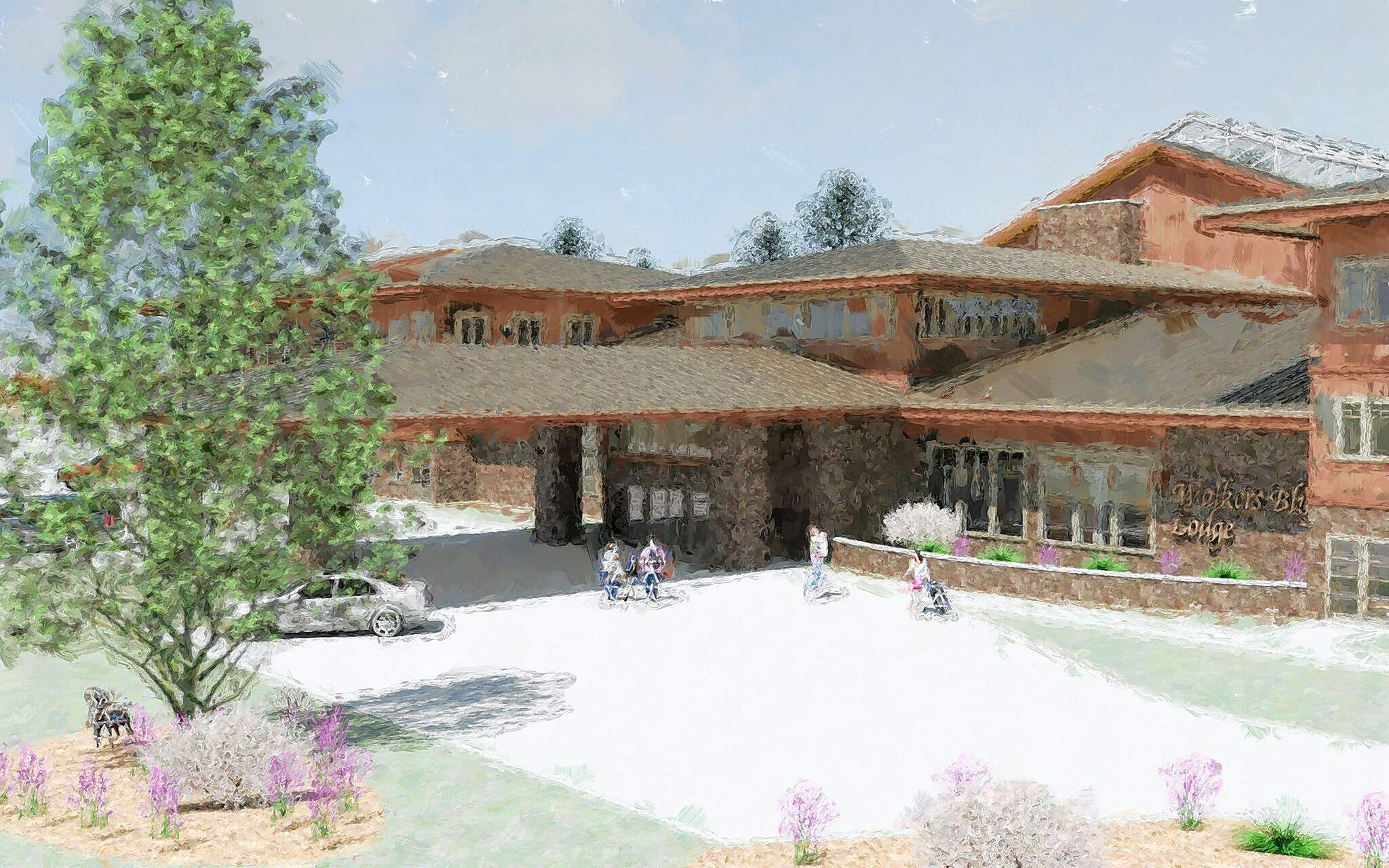 Rendering showing part of what the Walker's Bluff Lodge hotel would look like.