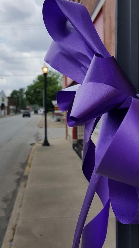 Theresa Bates and her crew have turned Benton and the surrounding communities purple to draw attention to this Saturday's Relay for Life.  The annual event raises funds for cancer research and is the signature fundraiser for the American Cancer Society.   The ribbons signify awareness of the disease that claims nearly 500,000 American lives each year.