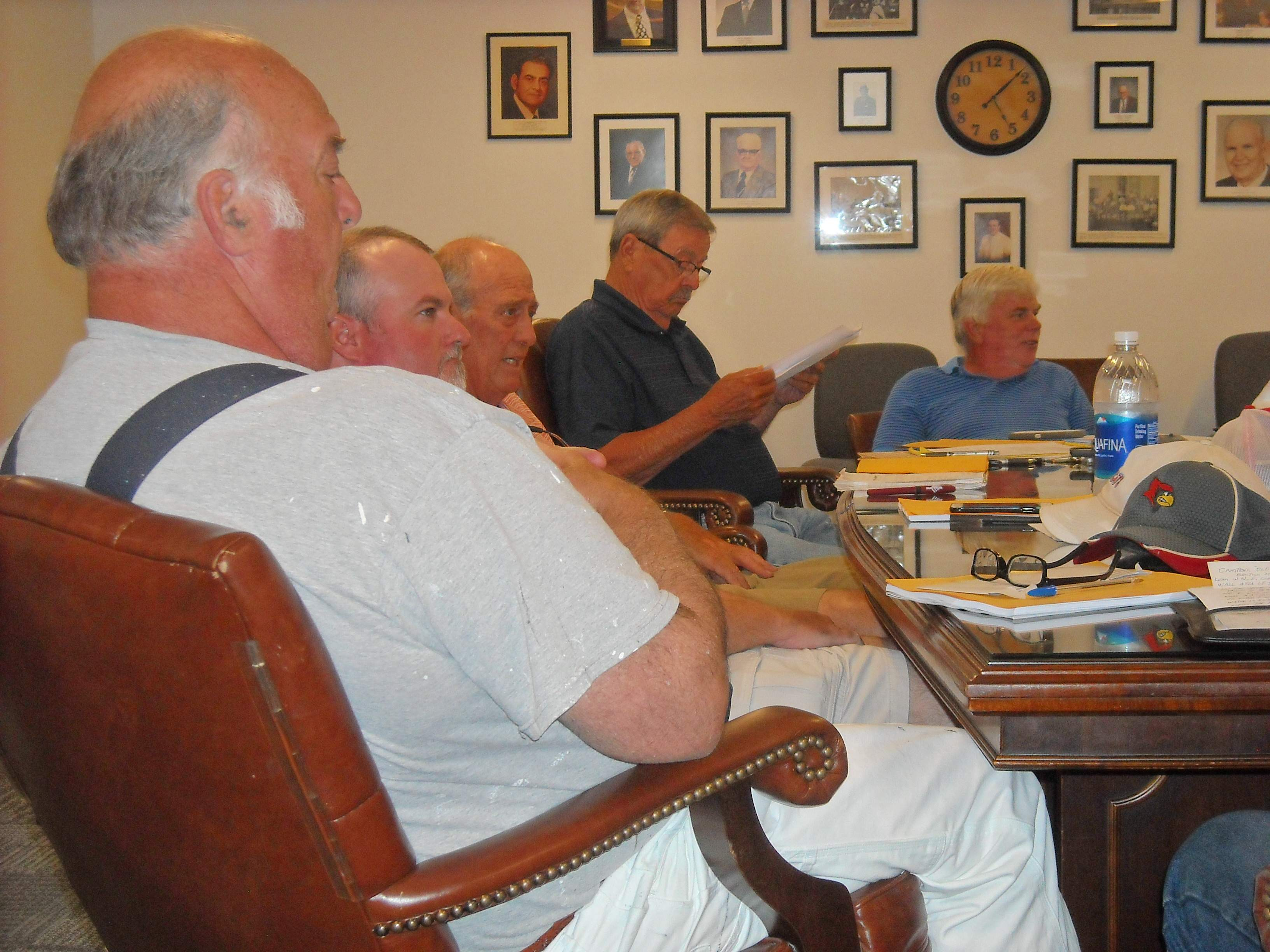Franklin County Board members discussed several topics during committee meetings Monday in the conference room at the Campbell Building. From left are Jack Warren, Neil Hargis, Tom Vaughn, Keith Ward and Chairman Randall Crocker.