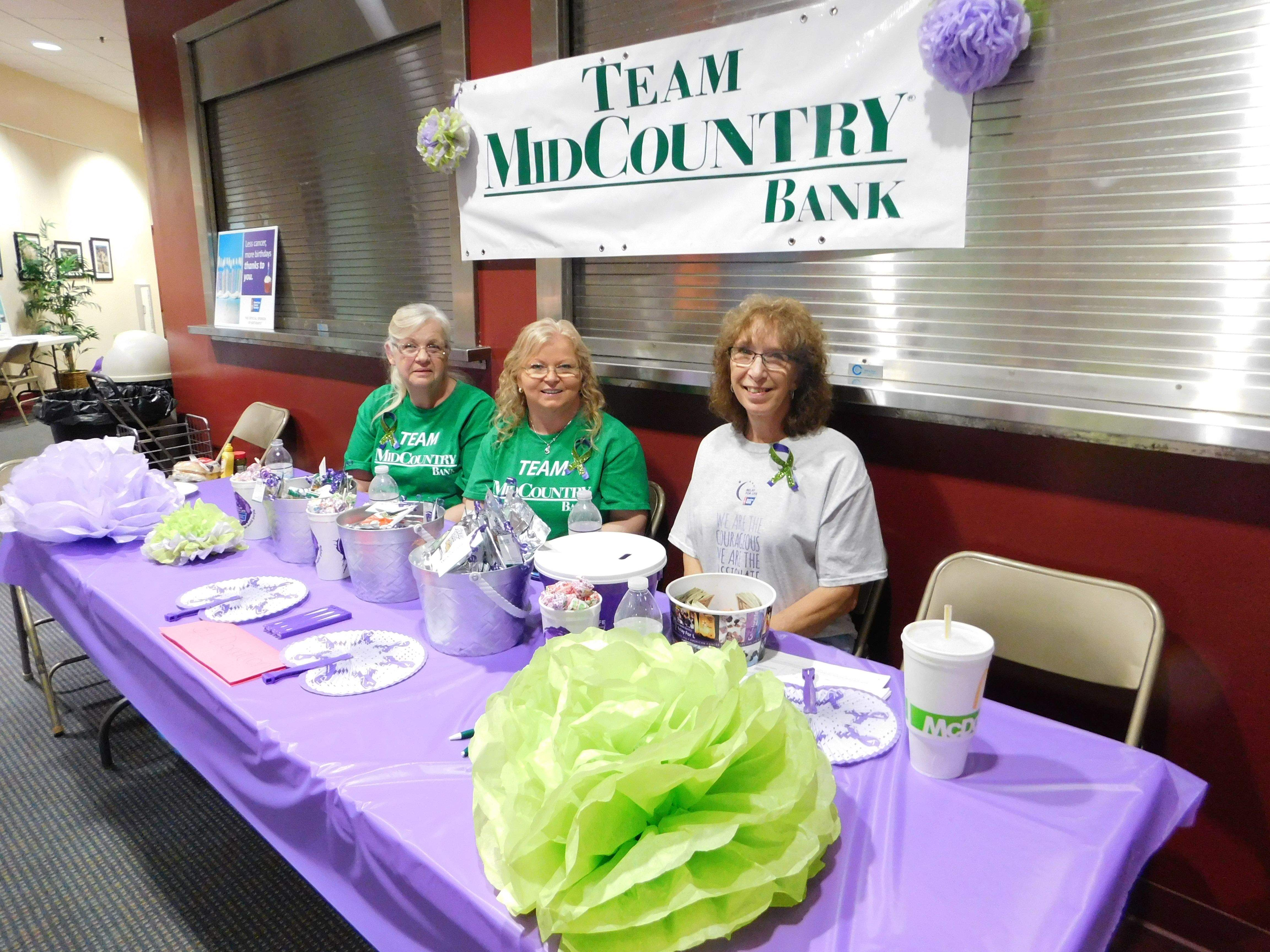 Peggy McClintock, Verneda McEndree and Kathy Storey were part of the Mid-Country Bank team that raised just over $400 for the Franklin County Relay for Life, which was held Saturday at the Benton Civic Center. The team sold 'cupcakes' for the bank windows, among other things to do their part for the annual event.