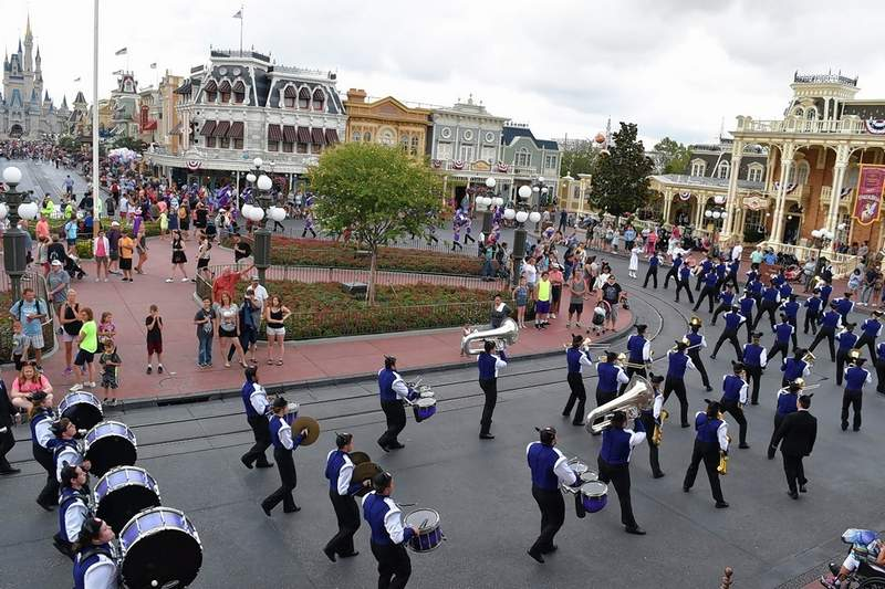 A view of the band from the Train Depot area at the Main Street Square.
