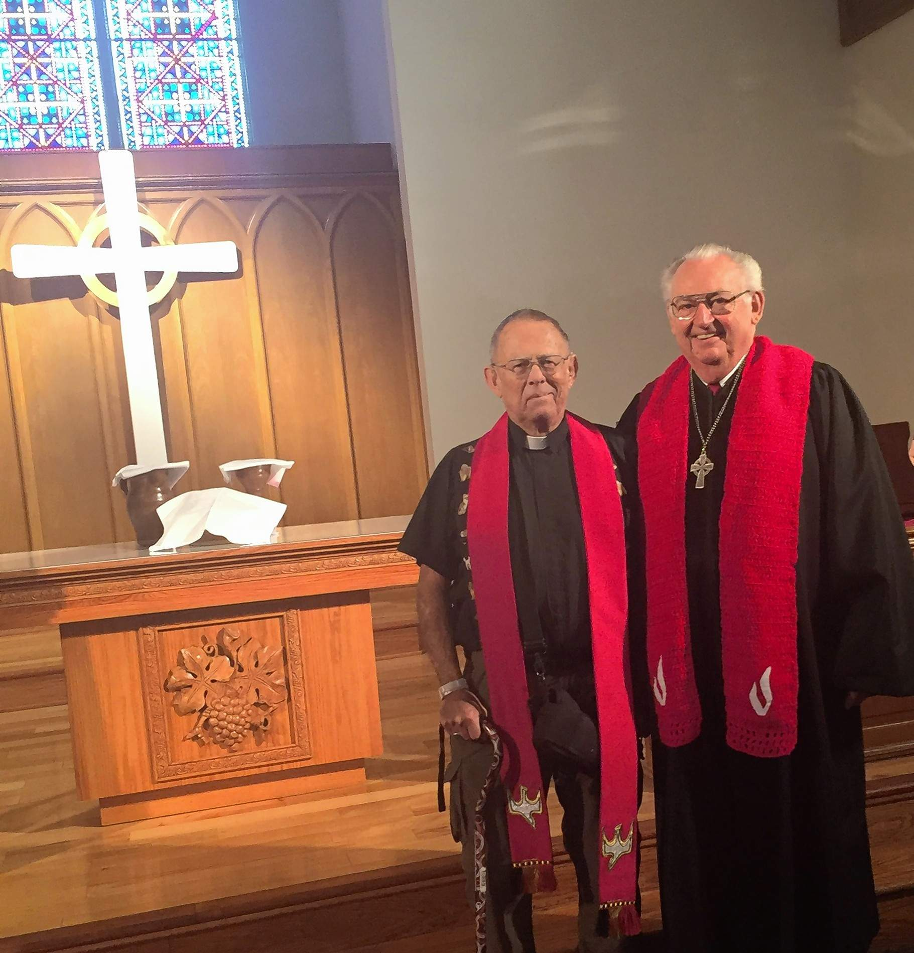 Father Timothy Goodman, left, and interim pastor, the Rev. Dan Whitfield, led the joint Pentecost service.