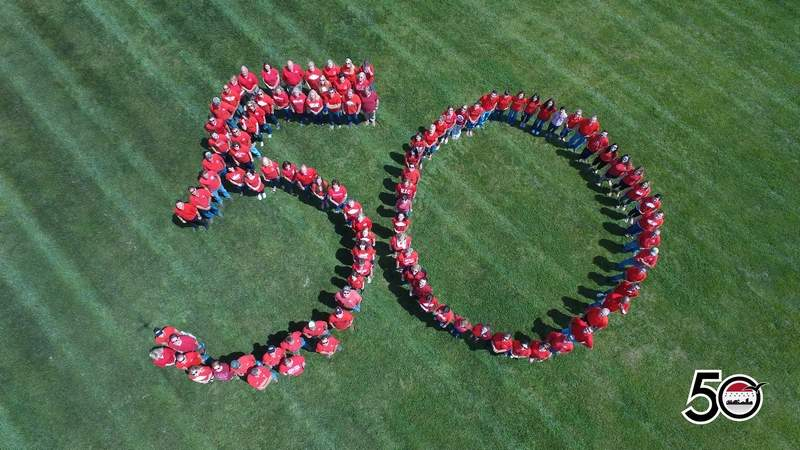 Employees at Rend Lake College gathered last month for this '50' photo to celebrate the college's 50th anniversary.