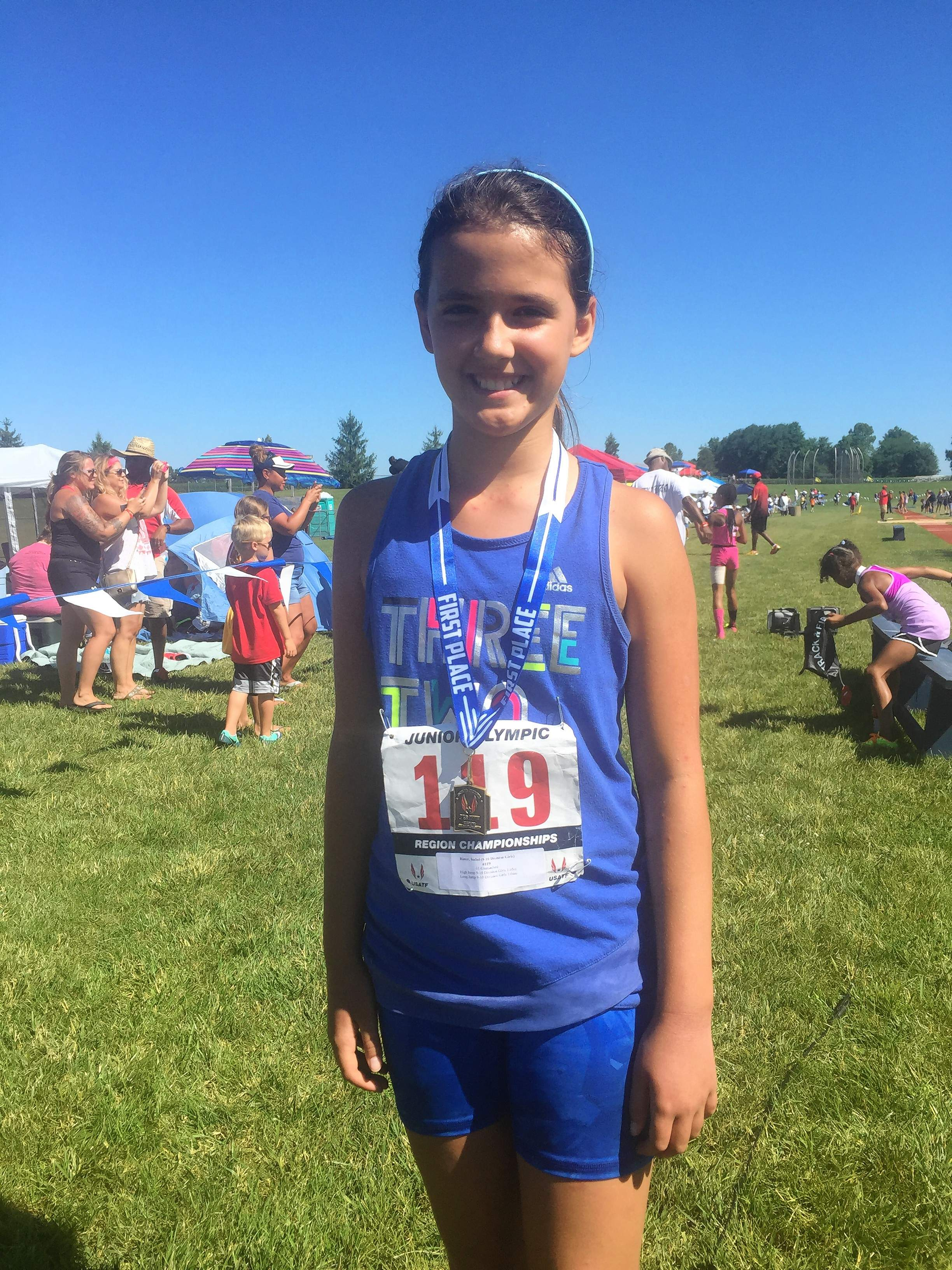 Isabel Rister, 10, of Harrisburg, won her qualifier for the Junior Olympics in long jump and placed second in high jump in Cedarville, Ohio, last weekend.