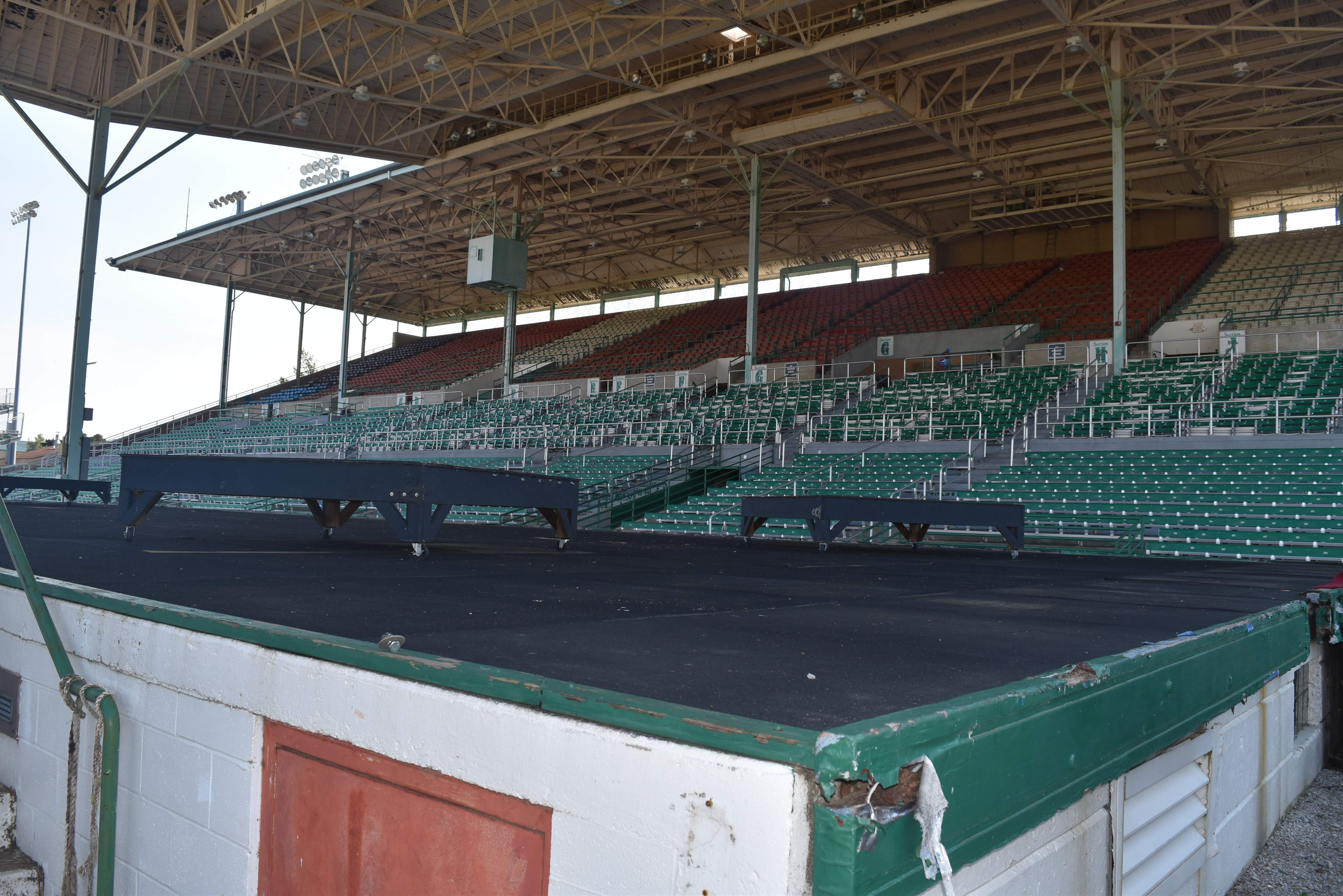 The Du Quoin Fair Grandstand was rushed to completion in 1945, after the original wooden bleachers burned. 'I'll put our fairgrounds up against any in the United States,' Mayor Guy Alongi said while still noting a shortcoming. 'Here the stage is right on the grandstand. In Springfield the stage is on the other side of the track.'