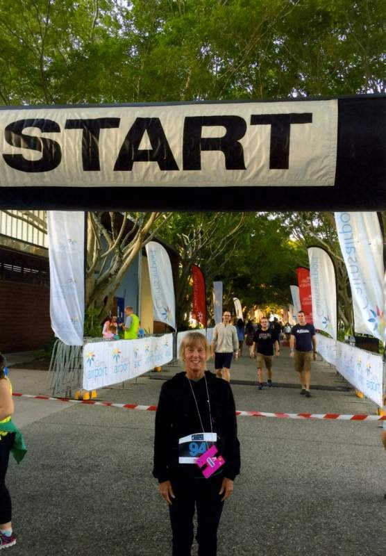 Collins is shown at the starting line of the 5K she ran in June in Cairns, Australia.