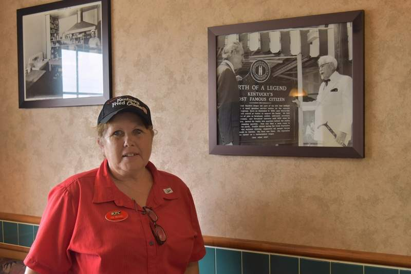 Val Mitchell, manager of Harrisburg's KFC, has worked at the Harrisburg restaurant for 42 years.