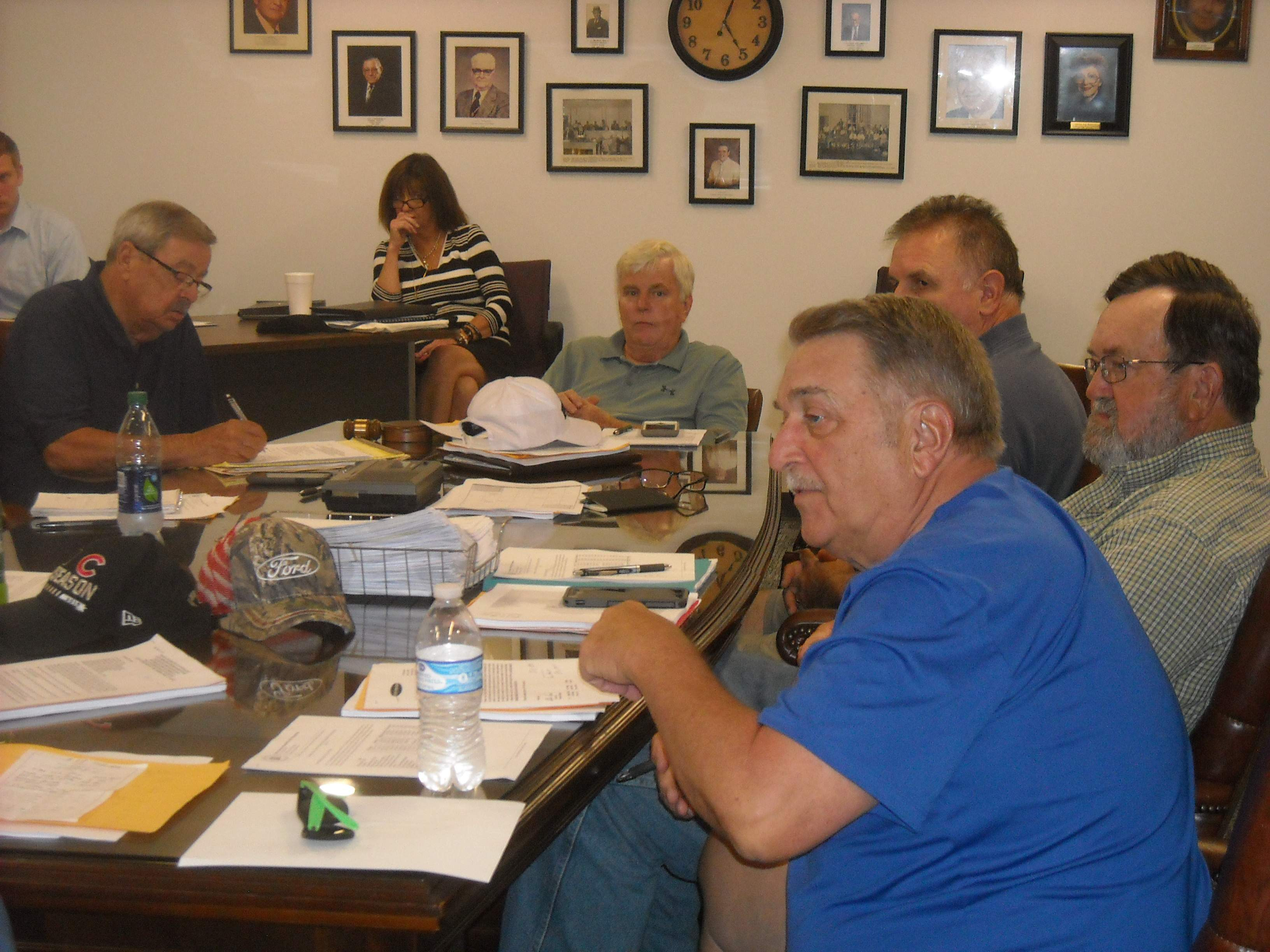 Franklin County Board members discussed several topics during committee meetings held Monday at the Campbell Building. The Board also went into executive session for a 15-minute discussion about pending litigation. From left are Keith Ward, Randall Crocker, Robert Pierce, Alan Price and Steve Leek.