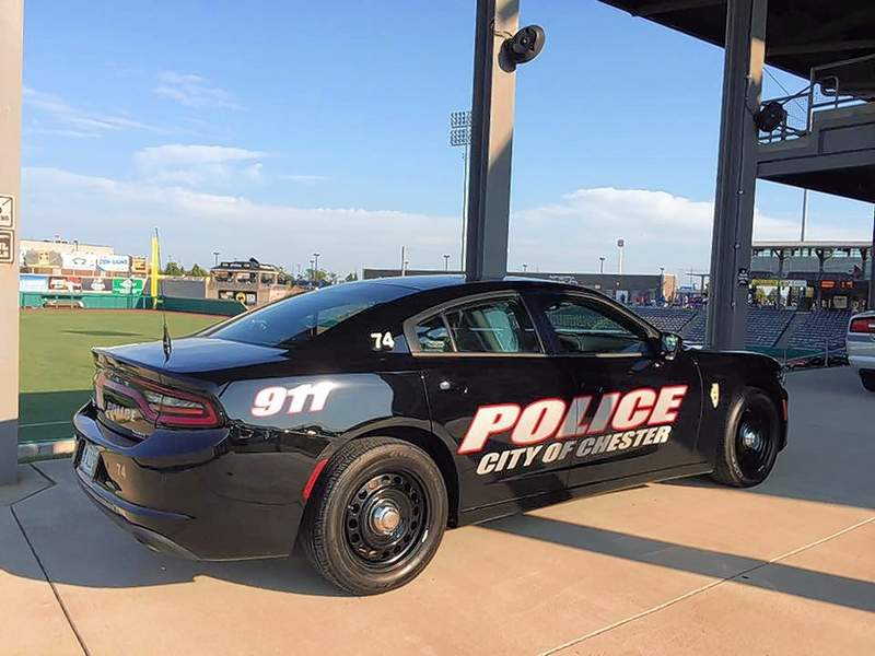 A Chester Police Department squad car is shown atop the concourse at Rent One Park in Marion.