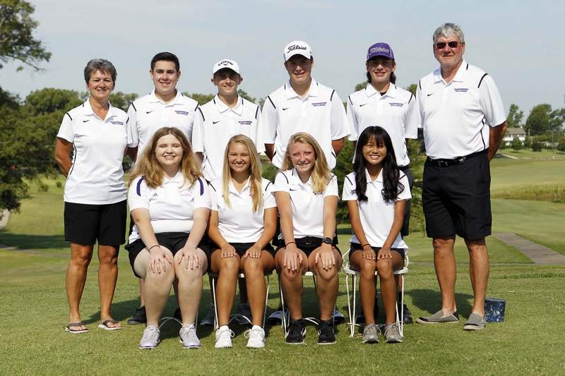 The Harrisburg High School boys and girls' golf team members include (front row, from left) Madeline DeNeal, Alli Ferrell, Gabby Adams and Annabella Robinson. (Back row, from left) Assistant coach Cindy Black, Clay Brigham, Andrew Bittle, Camden Schiff, Javier Beal and head coach Steve Black.