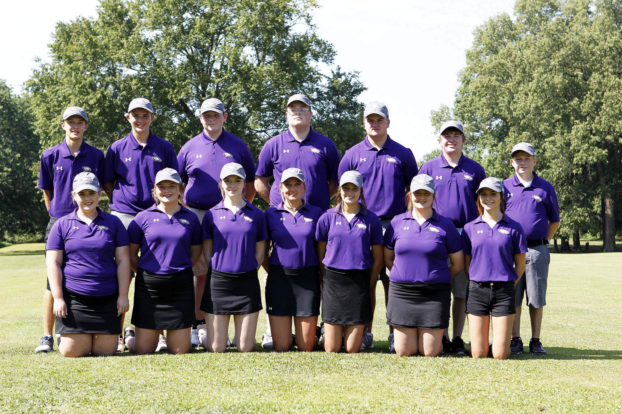 Members of the Eldorado High School girls golf team. Front row, from left, Gracie Harrawood, Lacey Hobbs, Derian Corn, Keeley Tate, Chloe Hopkins and Ashlyn Sizemore. Back row, from left, Evan Coyle, Braden Unthank, Zachary Stanford, Lucas Rider, Noah Smith, Ely Boulds, Austin Willis. Not pictured are Hannah Clark and Kaiden Lloyd.