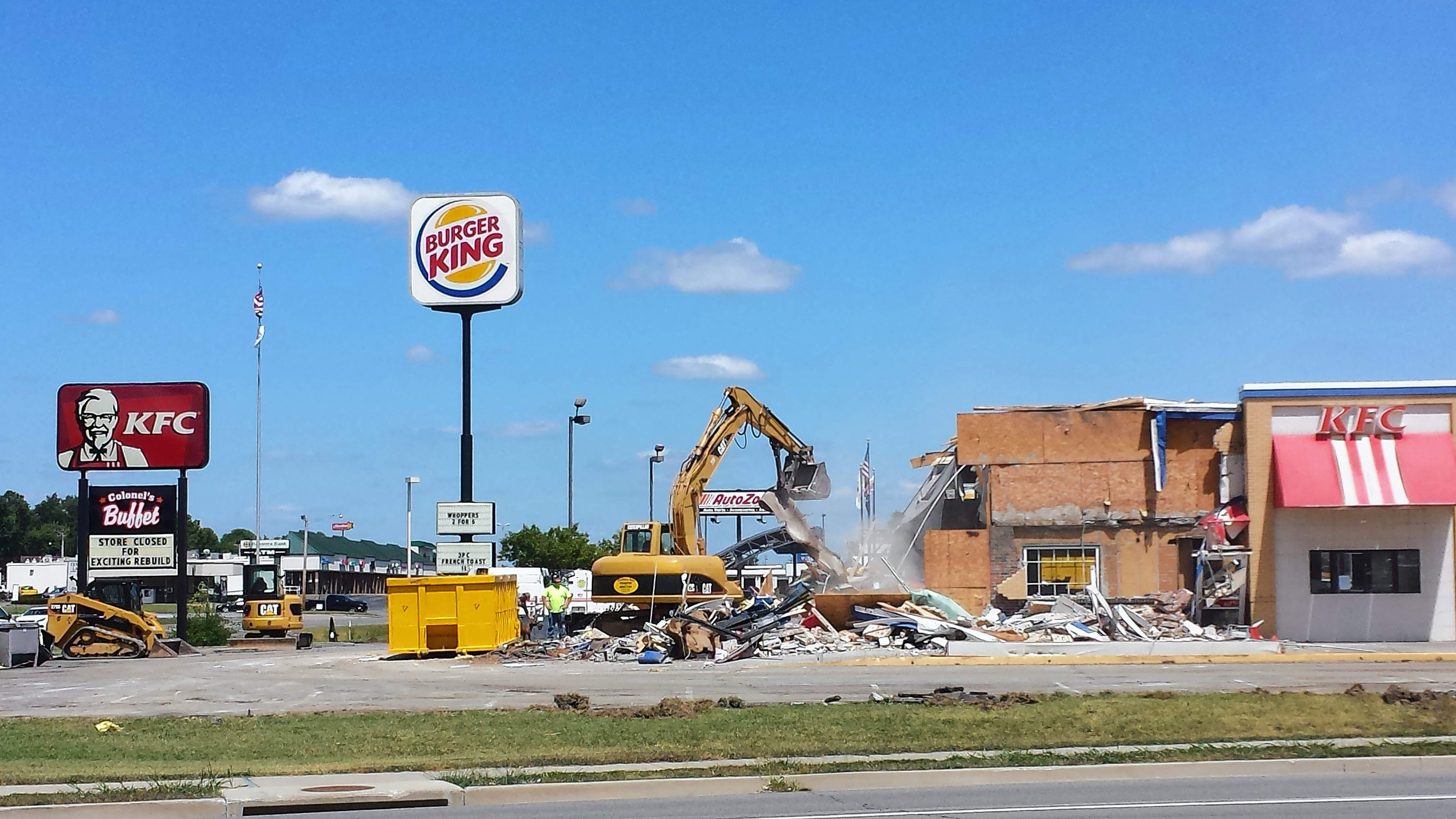 Demolition of the KFC restaurant in Harrisburg began last week, and continues this week. A new KFC will be built in its place.