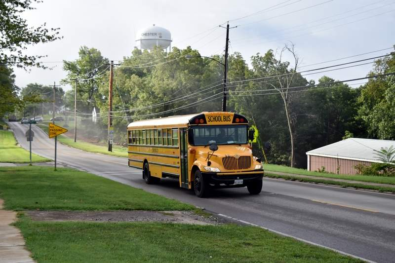A school bus makes its way down Opdyke Street in Chester. Gov. Bruce Rauner signed Senate Bill 1947 on Aug. 31, establishing a new model for school funding.