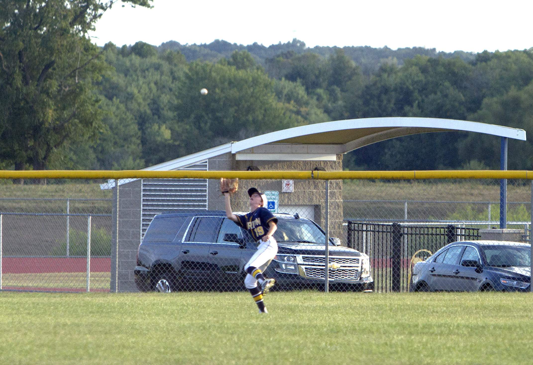 Devyn Wright makes a run-saving running catch.