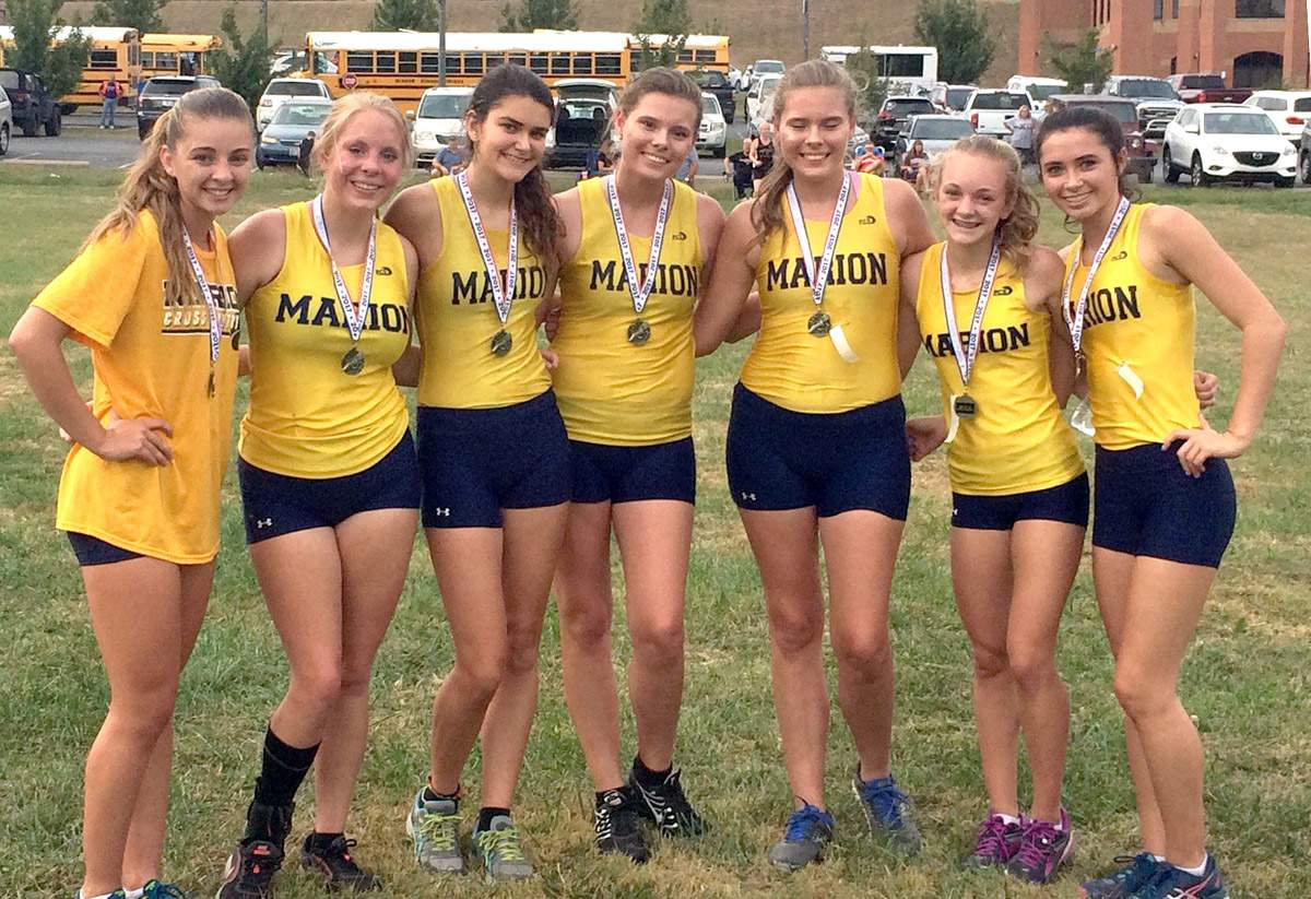 Marion's girls cross country team after the Harrisburg Invitational.