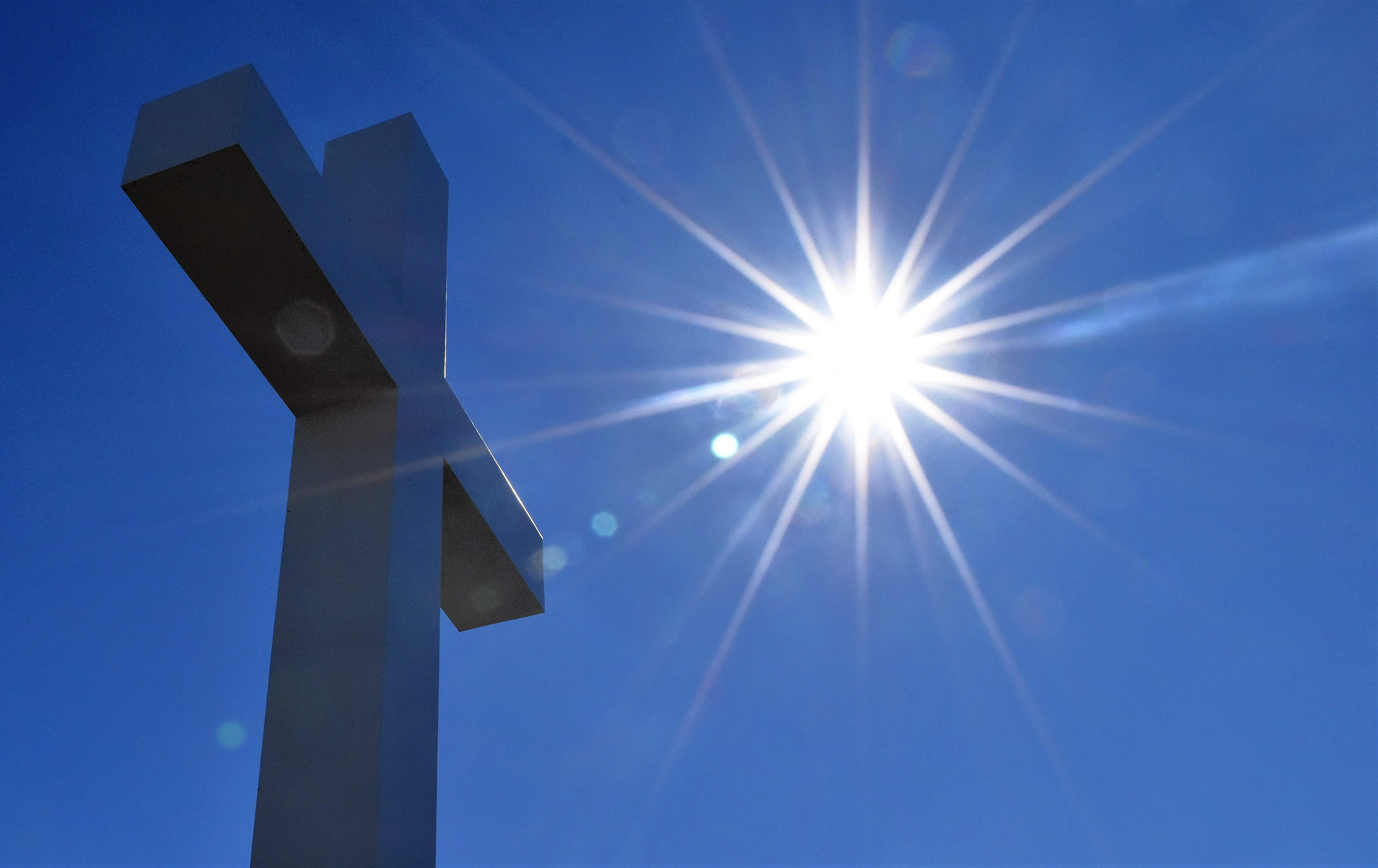 Spirit of Life Christian Church's newly installed cross faces the midday sun. The church's congregation will hold a dedication ceremony for the cross this Sunday.