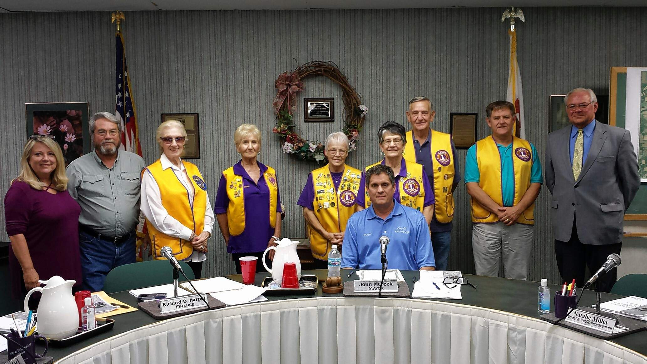 Harrisburg city council recognized the Harrisburg Town and Country Lions Club to recognize Candy Day, which was held Saturday, Oct. 14. The money raised by the selling of the Lions Club candy is used to help blind, visually impaired, deaf and hearing impaired people.