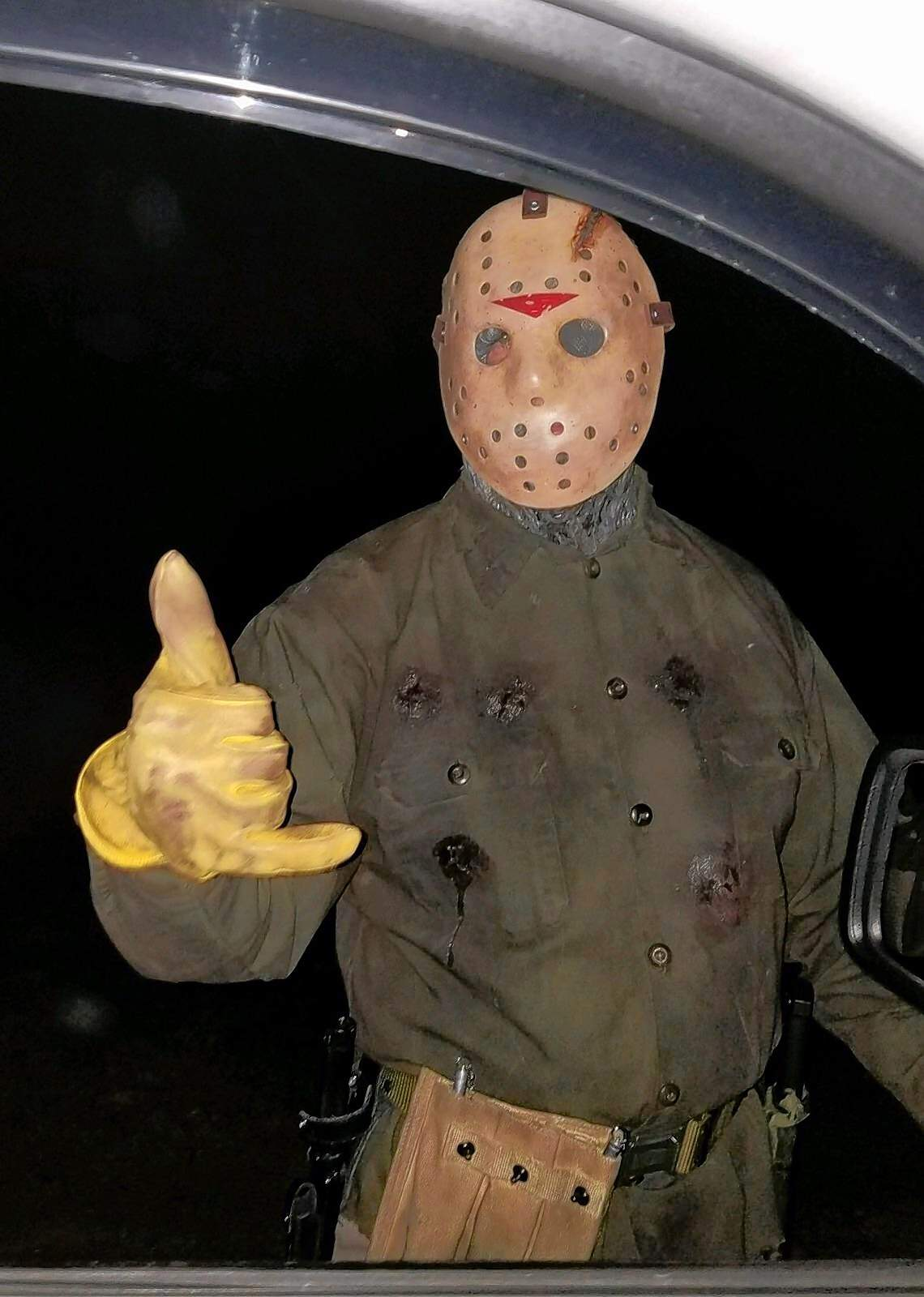 """Actor C.J. Graham portraying """"Jason"""" from Friday the 13th. Graham portrayed the character in the sixth """"Friday the 13th"""" movie and was on hand over the weekend at the 25th annual Coleman Tri-County Services haunted forest."""