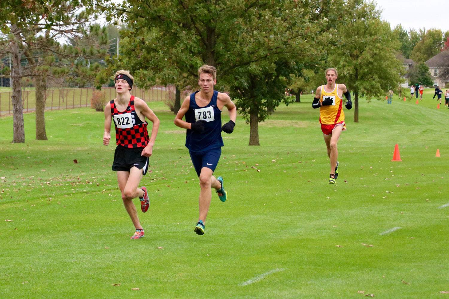 John Bruce runs with the top finishers Saturday.
