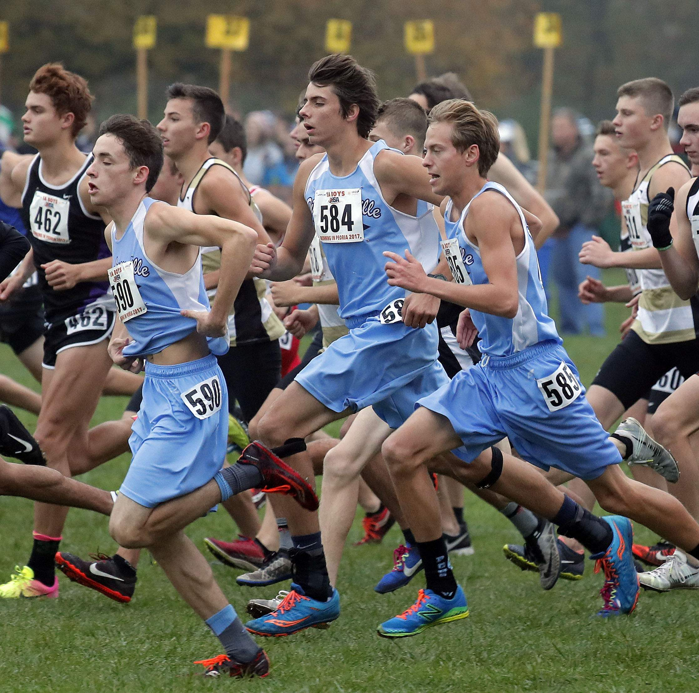 Pinckneyville runners start the race during the boys Class 1A cross-country finals Saturday in Peoria.