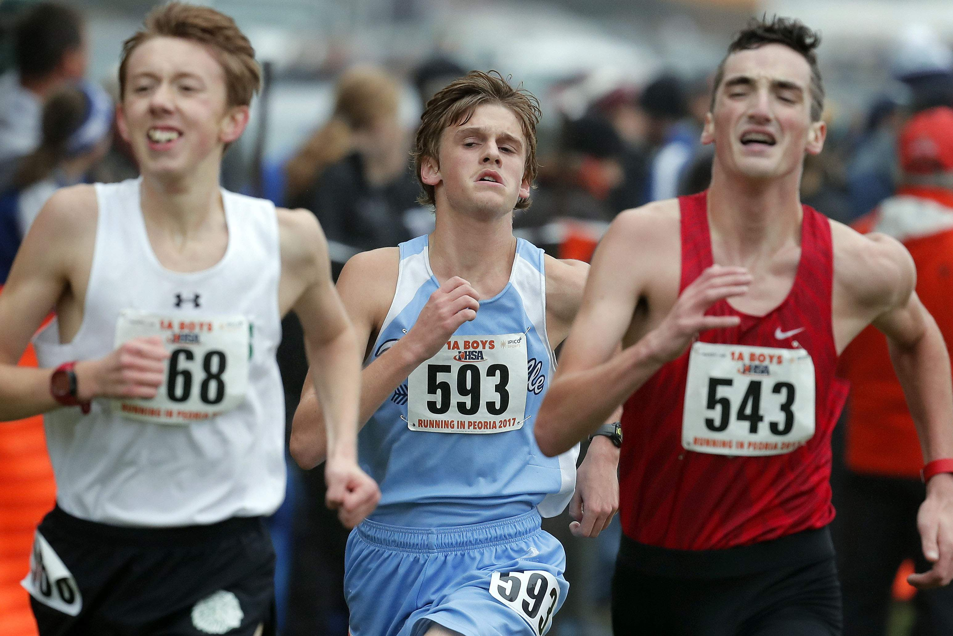 Pinckneyville's Liam Oliver (593) heads to the finish line during the boys Class 1A cross-country finals Saturday in Peoria.