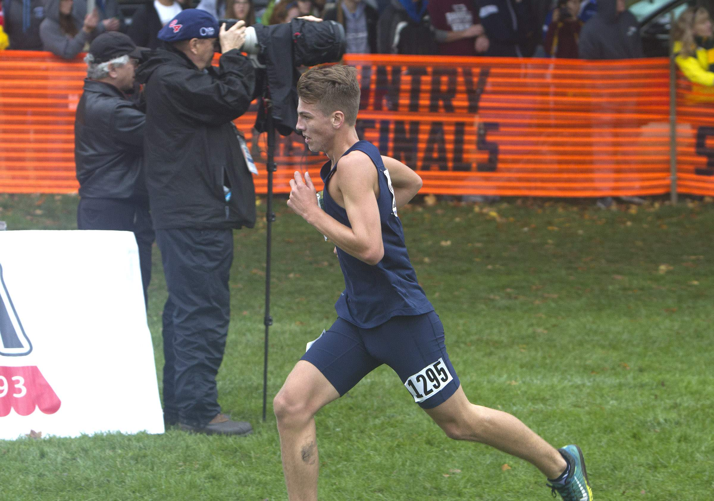 Marion's John Bruce approaches the finish line in the 2A state cross country race Saturday. Bruce placed 14th to earn an all-state medal.