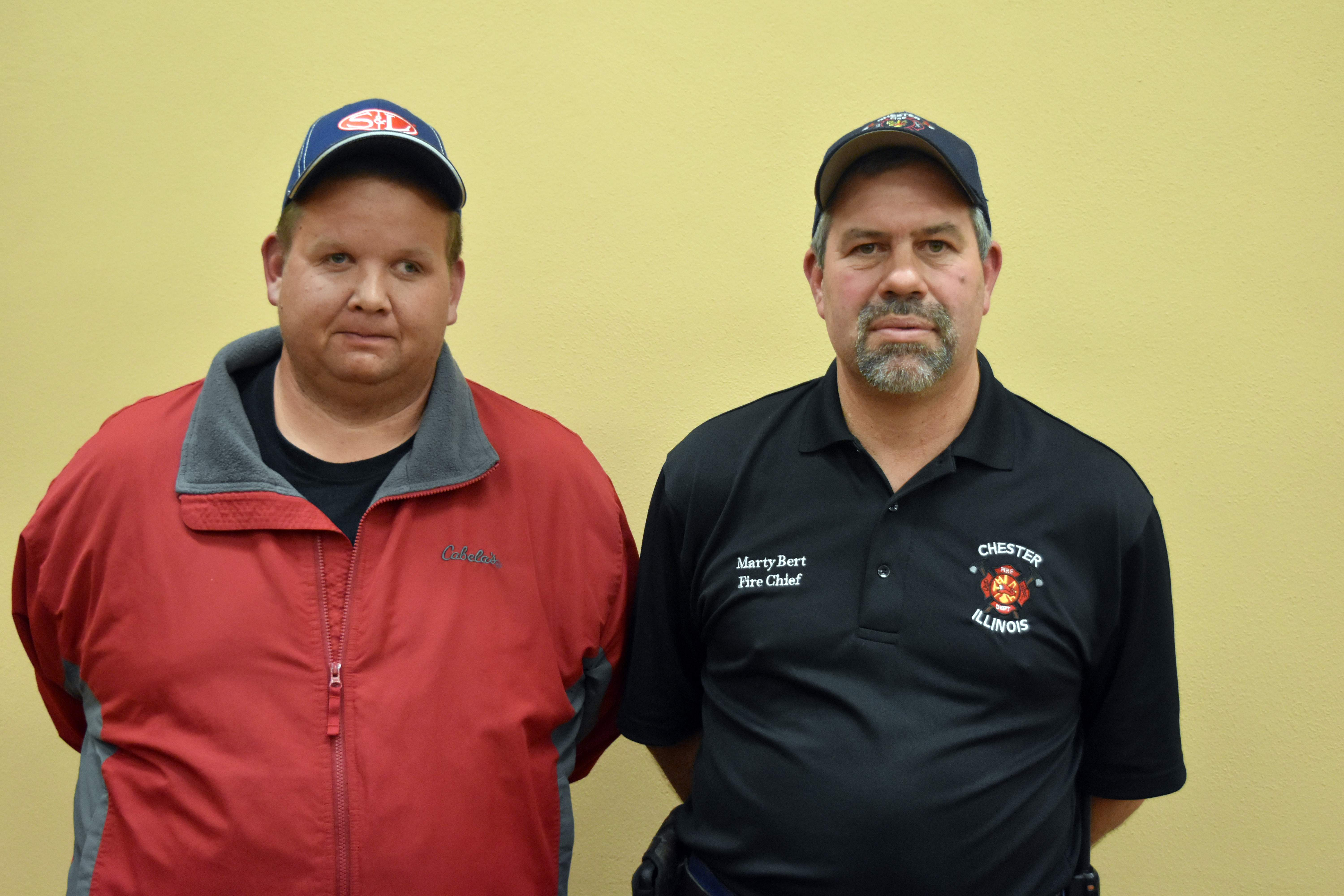 Pictured is new Chester Fire Department auxiliary firefighter Aaron Gibbs (left) with Fire Chief Marty Bert. Gibbs was approved by the Chester City Council during Monday's meeting.