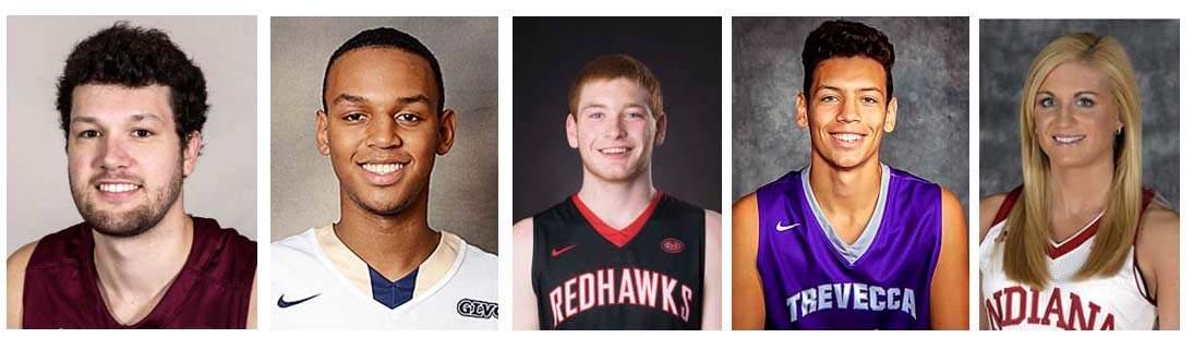 Tyler Smithpeters (SIU), Bahari Amaya (UIS), Justin Carpenter (SEMO), Austin Wills (Trevecca Nazarene) and Tyra Buss (Indiana).