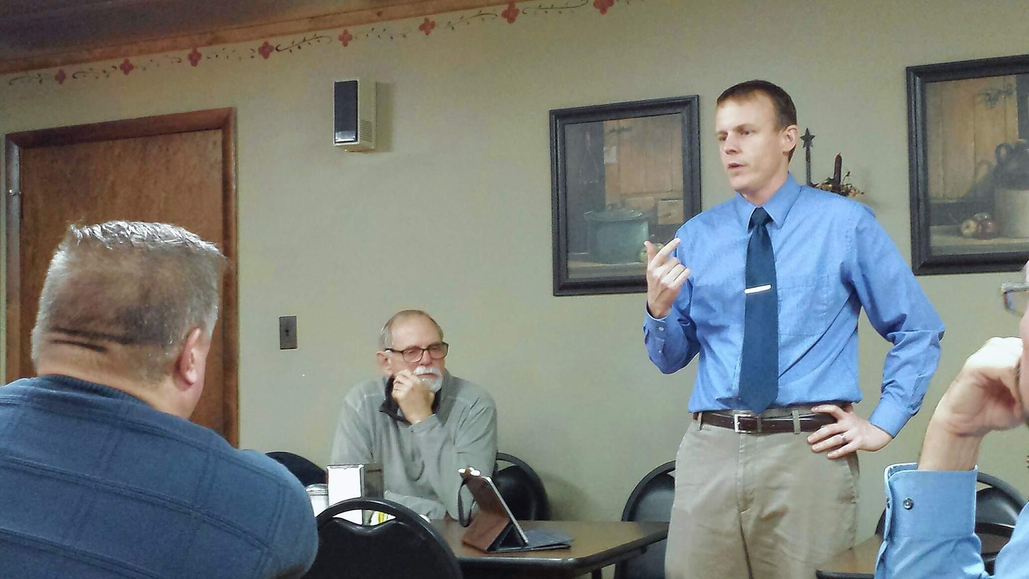 Saline County State's Attorney Jayson Clark speaks to the Eldorado Rotary Tuesday.