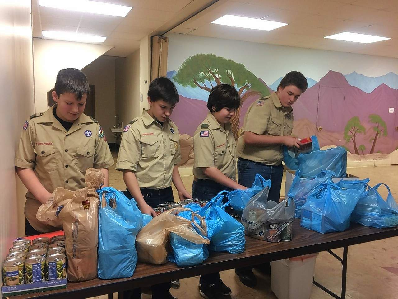 From left, Harrisburg Boy Scouts Aidan Seiner, David Mitchell, Wilson DeNeal and Michael Lampert organize donated food items.