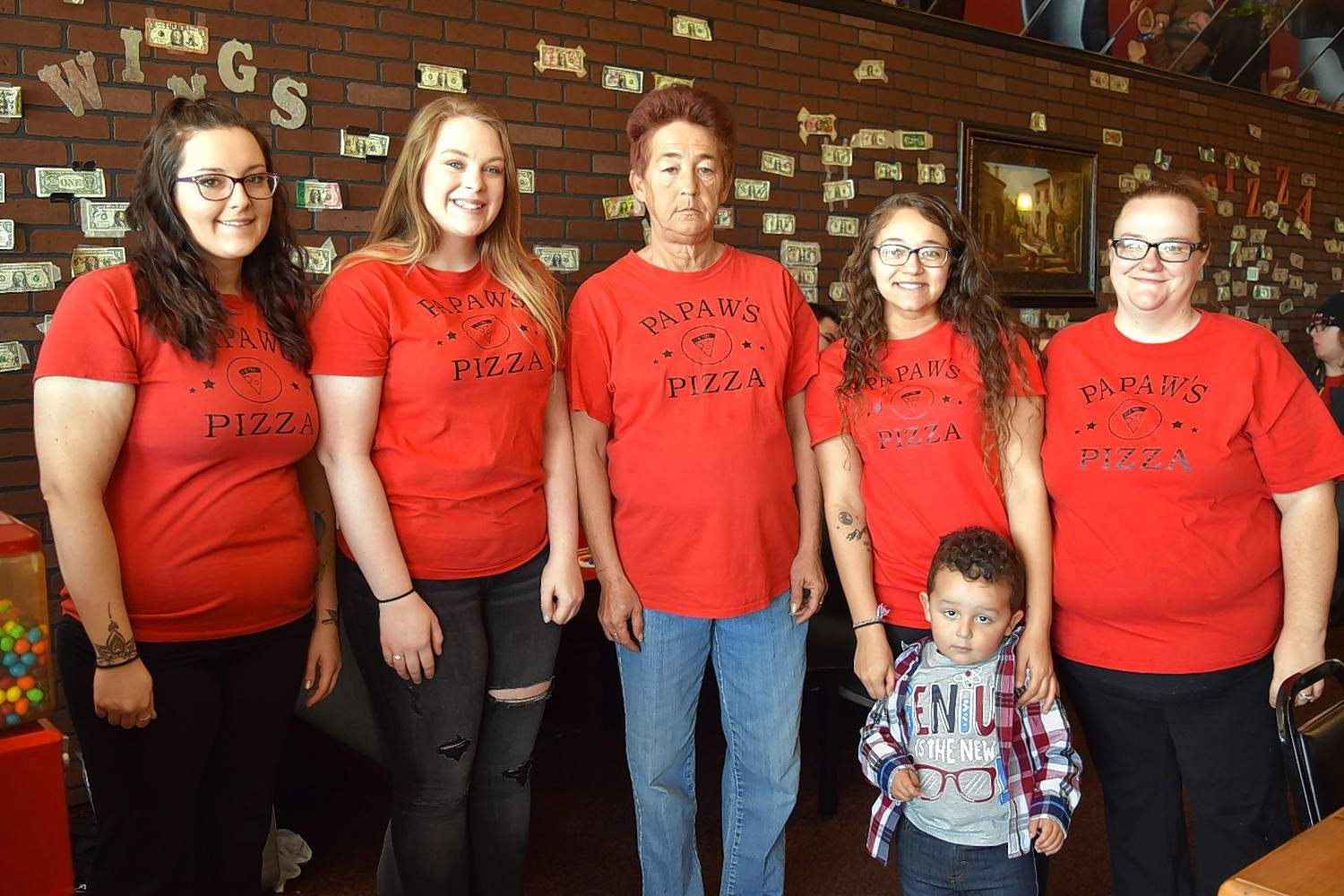 The wait staff at Papaw's Pizza had a brief moment during the free Thanksgiving buffet to stand together for a pic. From left are Taylor Patterson, Angela Colby, Elspeth Newsome, Brianna Hayes, James Hayes II, and Dana Hayes.