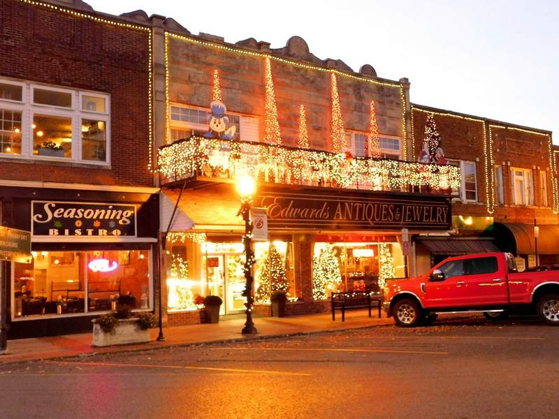 Edwards Antiques is just one local business that goes all out for the holidays. Owner Kevin Edwards said his displays include over 21,000 lights.