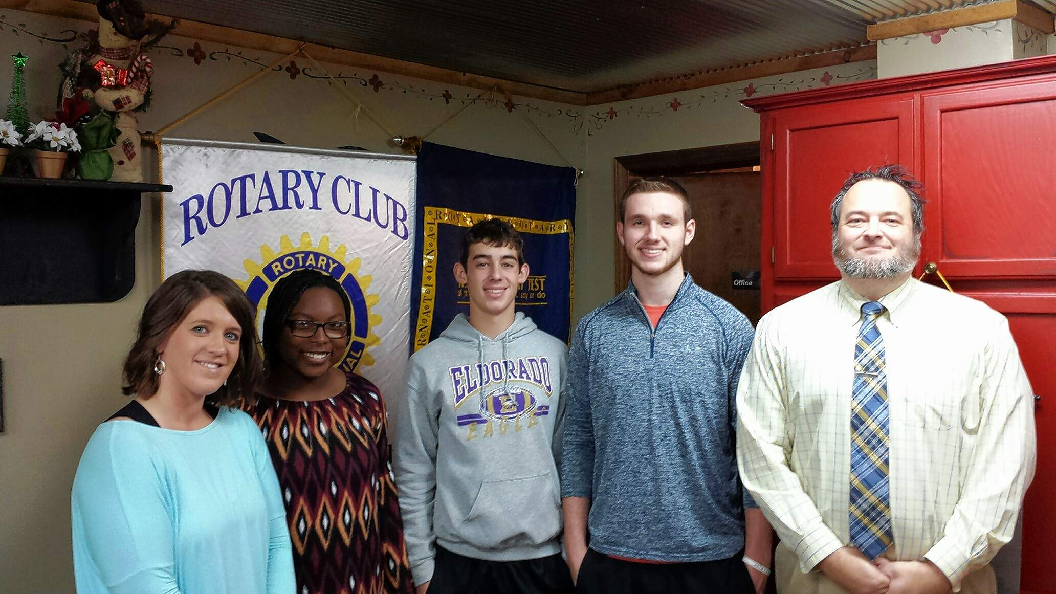 The Eldorado Rotary Club heard from three Eldorado High School athletes with ambitious post-graduation plans. From left, Rotary President Caleigh Bruce, EHS students Takiya Britton, Kale Oglesby and Braden Attebery, and EHS Superintendent and Principal Ryan Hobbs. Britton plans to pursue political science and become a defense attorney. Oglesby plans to declare a pre-medicine major. Attebery said he plans to become a chiropractor.