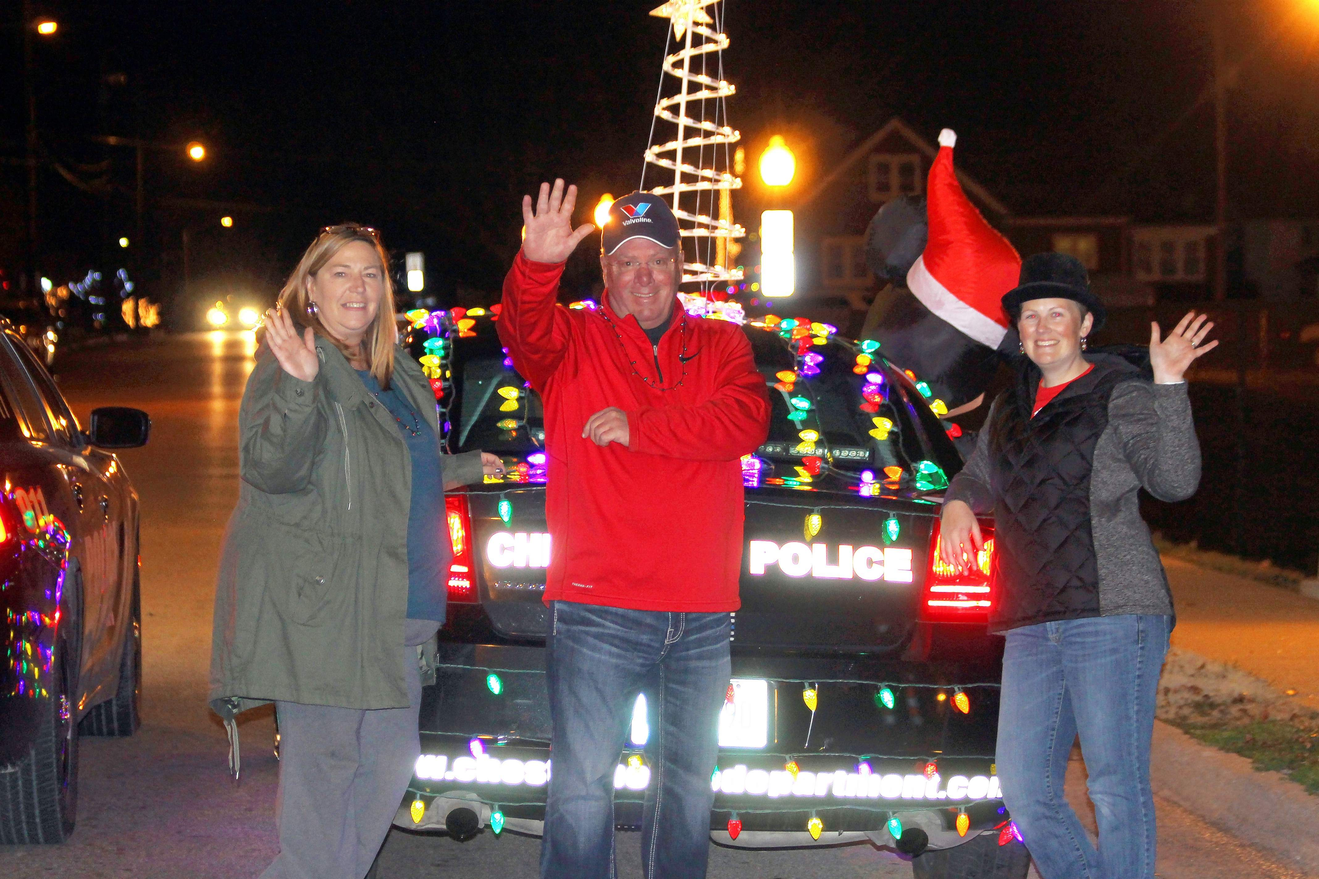From left, Chester Recreation Director Patti Carter, Mayor Tom Page and Jingle Bell Fun Run/Santa Shuffle Coordinator Brandy Maes.