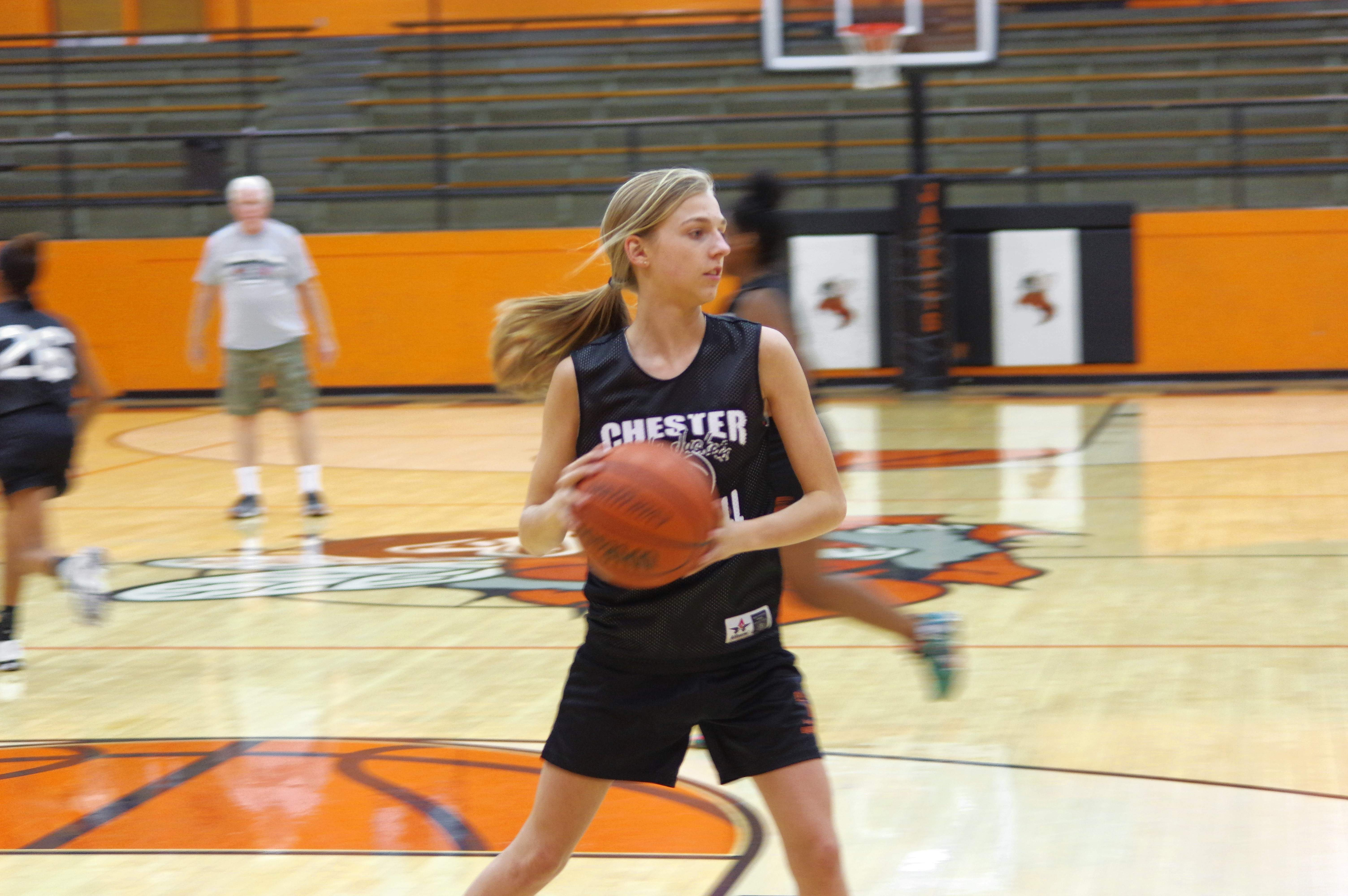 Josie Kattenbraker works on her offensive skills at a recent Chester High School Lady Yellow Jacket practice. Between Nov. 27 and Dec. 2, Kattenbraker, a freshman, scored 23 points, grabbed eight rebounds, dished out two assists and recorded one steal.
